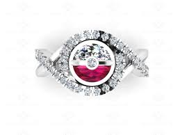 pokeball solid white gold ring