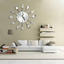 modern stainless steel knife fork wall clock analog for home