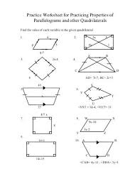 properties of parallelograms worksheet 6 4 properties of special parallelograms properties of special