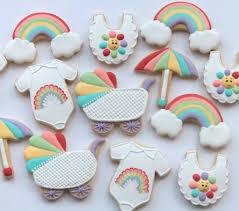 Onesie Baby Shower Favors Custom Designs Baby Shower Cookies Rainbows And Babies