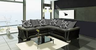 Black Corner Sofas Shannon Black And Grey Fabric And Chenille Designer Sofa Settee