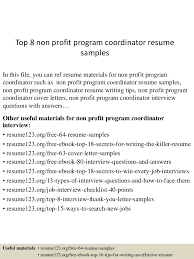 top 8 non profit program coordinator resume samples 1 638 jpg cb u003d1434168517
