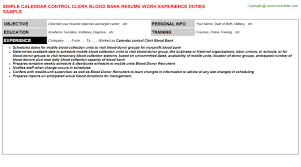 Leasing Agent Resume Sample by Calendar Control Clerk Blood Bank Resume Sample