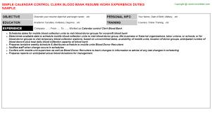 Leasing Consultant Resume Sample by Calendar Control Clerk Blood Bank Resume Sample