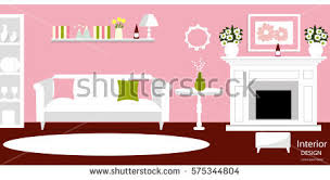 Home Office With Sofa Interior Room Vector Living Room Design Stock Vector 664841311
