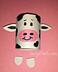 cow toilet paper roll craft for kids farm activity children