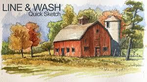line and wash lesson landscape