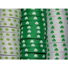shamrock ribbon 5 yards 3 8 shamrock print grosgrain ribbon