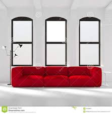 Red Sofas In Living Room White Room With A Red Sofa Stock Photo Image 55296803