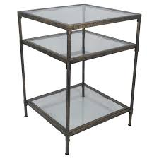 Square Accent Table Square Bronze Metal And Glass Accent Table