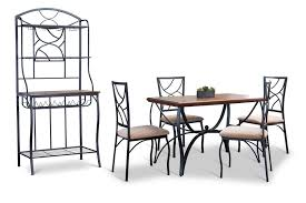 Metal And Wood Bakers Rack Baxton Studio Valletta Wood And Metal 6 Piece Transitional Dining