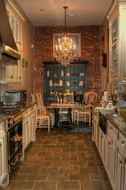 kitchen style brick wall with vintage green open shelving cabinet