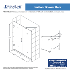 dreamline unidoor min 47 in to max 48 in frameless hinged shower
