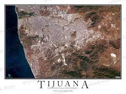 Map Of Tijuana Mexico by Tijuana Mexico Satellite Map Print Aerial Image Poster