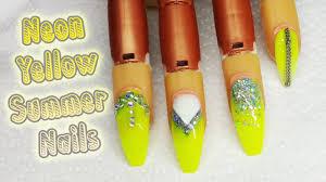 neon yellow summer nail design glitter nail art youtube
