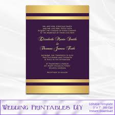 purple and gold wedding invitations items similar to purple and gold wedding invitation template gold