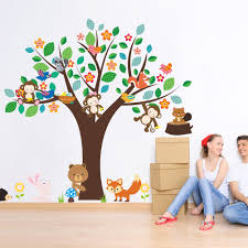 forest baby nursery promotion shop for promotional forest baby monkey bear forest animals flower tree removable wall stickers for kids baby nursery bedroom home decor decal poster decorative
