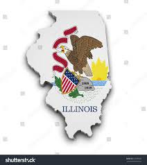 Illinois State Map Shape 3d Illinois State Map Flag Stock Illustration 129385232