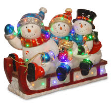 National Tree Company Outdoor Christmas Decorations by National Tree Company 29in Sledding Snowmen With Multi Color Led
