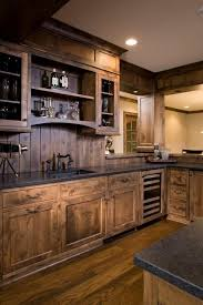 blue kitchen cabinets in cabin 27 best rustic kitchen cabinet ideas and designs for 2021