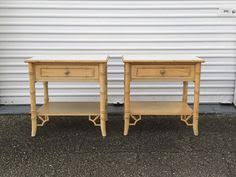 vintage pair of two faux bamboo dixie aloha nightstands end tables
