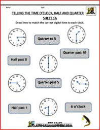 telling the time o u0027clock half and quarter sheet 2b