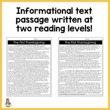 thanksgiving differentiated reading passage activities