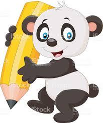 cute panda cartoon holding pencil stock vector art 628033068 istock