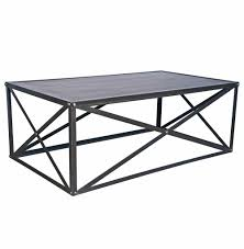 crispin industrial style metal stone coffee table kathy kuo home
