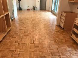 refinishing parquet wood flooring in a kitchen appleton wi