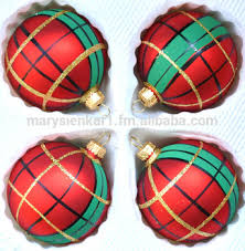 blown glass scottish plaid balls ornaments painted