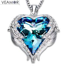 blue heart crystal necklace images Veamor angel wings pendants necklaces purple crystal heart jpg