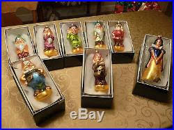 christopher radko seven dwarfs disney glass ornaments
