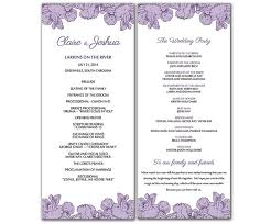 word template for wedding program diy purple poppy flowers wedding program microsoft word template
