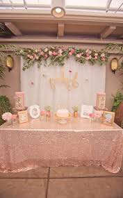 bohemian baby shower table from a pink gold bohemian dohl birthday party via