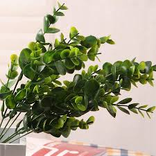 green 7 branches artificial fake plastic silk eucalyptus plant