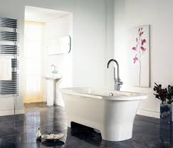 inspiring simple bathroom designs for your minimalist home decpot cool simple bathroom design decor applying white black interior with sleek ceramics flooring furnished free standing bathtub and completed