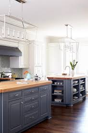 Gray Kitchen Island Blue Gray Kitchen Islands With Maple Butcher Block Countertops