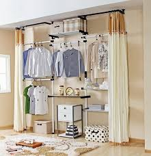 tiny bedroom without closet wardrobe with curtain dressing room in a tiny apartment products