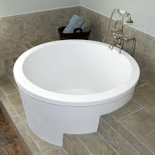 Bathtubs With Jets Bathroom Soaker Tub With Brown Ceramic Floor And Small Windows