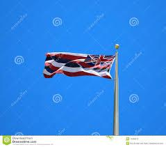 King Kamehameha Flag Hawaii State Flag Against Blue Background Stock Photo Image
