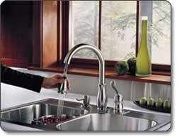 delta leland kitchen faucet delta 978 sd dst leland single handle kitchen faucet with pull