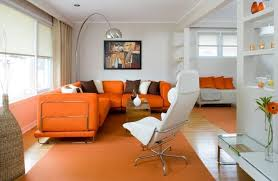 Living Room With Orange Sofa How The Living Room Walls With Murals Murals Decorate Living Room