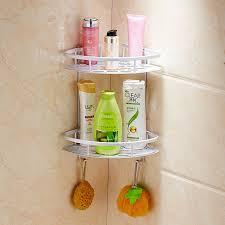 Bathroom Shower Storage Creative Traceless Suction Cup Aluminum 2 Tier Bathroom Shelf