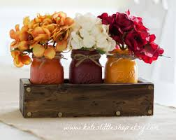 rustic planter box with mason jars fall table