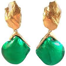 clip on dangle earrings 1980s yves laurent ysl rive gauche clip on dangle shell