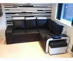 Corner Sofa Bed With Storage by Faux Leather Soprano Corner Sofa Bed In White U0026 Black 230cm X