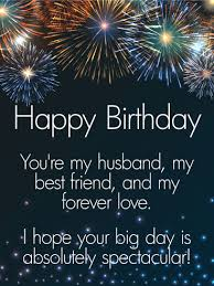 to my forever happy birthday wishes card for husband