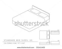 Standard Bed Dimensions Standard Bed Sizes Us United States Stock Vector 331411403