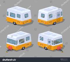 retro camper 3d lowpoly isometric vector stock vector 404670505